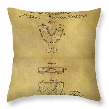 1866 Dental Mold Patent Throw Pillow by Dan Sproul
