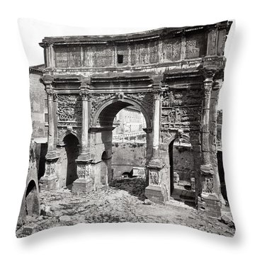 Throw Pillow featuring the photograph 1870 Arch Of Septimius Severus Rome Italy by Historic Image