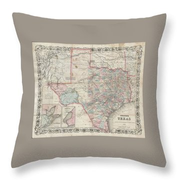 1870 Colton Pocket Map Of Texas Throw Pillow