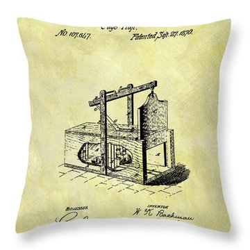 Throw Pillow featuring the mixed media 1870 Mousetrap Patent by Dan Sproul