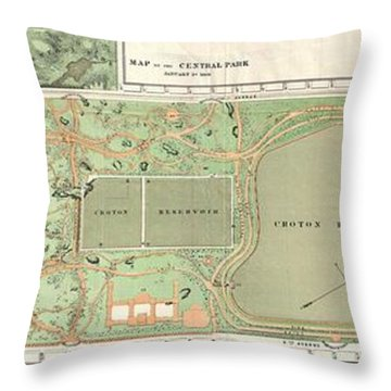 1870 Vaux And Olmstead Map Of Central Park New York City Throw Pillow