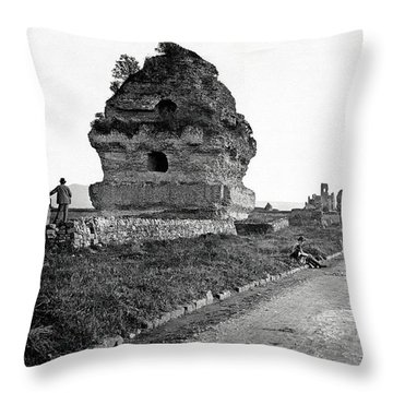 Throw Pillow featuring the photograph 1870 Visiting Roman Ruins Along The Appian Way by Historic Image