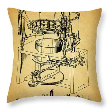 1871 Rotary Knitting Machine Throw Pillow by Dan Sproul