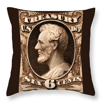 Throw Pillow featuring the painting 1875 Abraham Lincoln Treasury Department Stamp by Historic Image