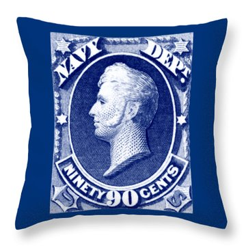 Throw Pillow featuring the painting 1875 Commodore Perry Us Navy Department Stamp by Historic Image