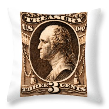 Throw Pillow featuring the painting 1875 George Washington Treasury Department Stamp by Historic Image