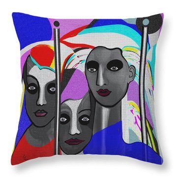 Throw Pillow featuring the digital art 1875 - To Walk Tall by Irmgard Schoendorf Welch