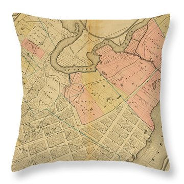 1879 Inwood Map  Throw Pillow by Cole Thompson