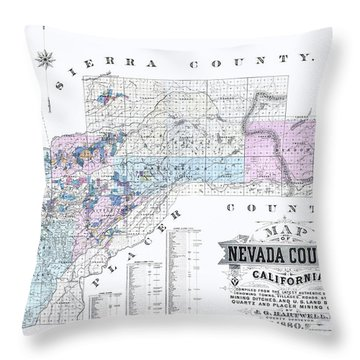 1880 Nevada County Mining Claim Map Throw Pillow