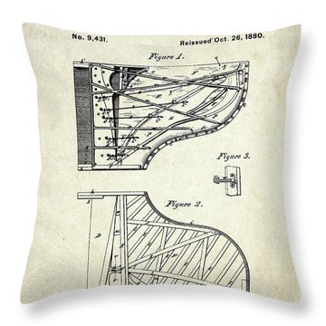 1880 Steinway Piano Forte Patent Art Sheet 1  Throw Pillow