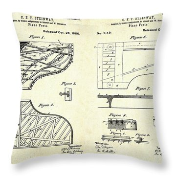 1880 Steinway Piano Forte Patent Art Sheets V2 Throw Pillow