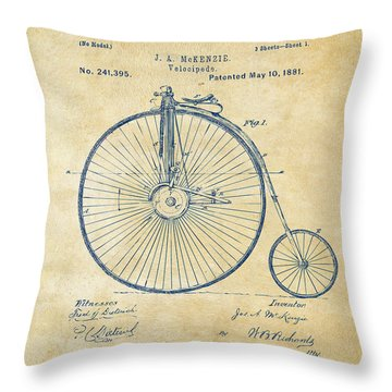 1881 Velocipede Bicycle Patent Artwork - Vintage Throw Pillow