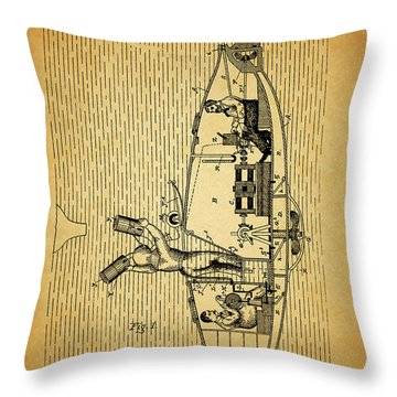1884 Submarine Ship Patent Throw Pillow by Dan Sproul