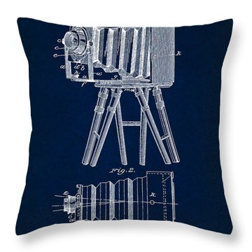 1885 Camera Us Patent Invention Drawing - Dark Blue Throw Pillow