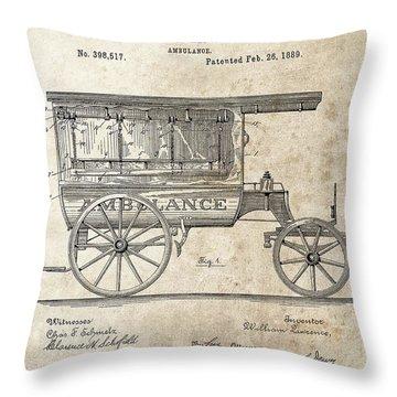 1889 Ambulance Patent Throw Pillow