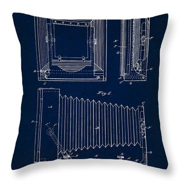 1891 Camera Us Patent Invention Drawing - Dark Blue Throw Pillow