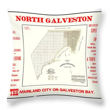 Throw Pillow featuring the drawing 1891 North Galveston Texas Promotional Land Development Poster by Peter Gumaer Ogden