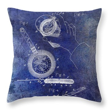 1892 Cocktail Mixer Blue Throw Pillow