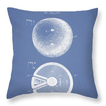 1894 Bowling Ball Patent - Light Blue Throw Pillow