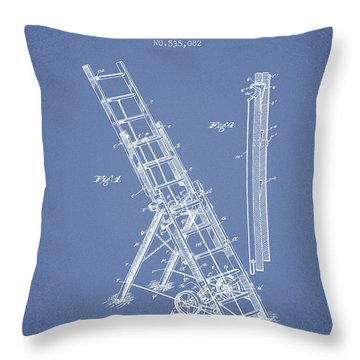 1895 Firemans Ladder Patent - Light Blue Throw Pillow
