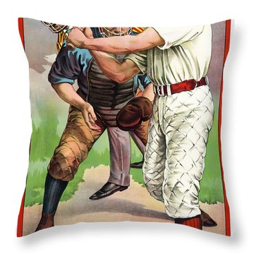 1895 In The Batters Box Throw Pillow by Daniel Hagerman