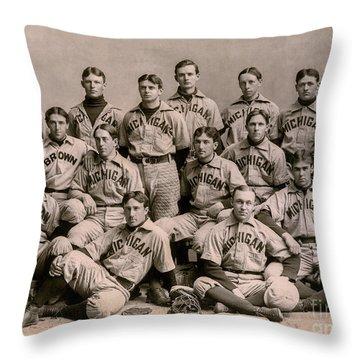 1896 Michigan Baseball Team Throw Pillow