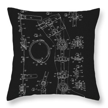 1897 Artificial Leg Patent Throw Pillow by Dan Sproul