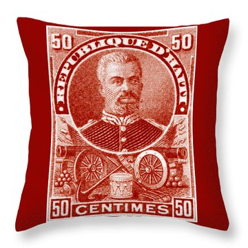 Throw Pillow featuring the painting 1898 President Of Haiti Stamp by Historic Image