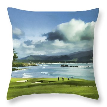 Throw Pillow featuring the digital art 18th Hole Pebble Beach 2 by Rich Stedman