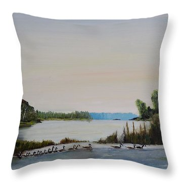 Throw Pillow featuring the painting 19 Geese by Marilyn  McNish