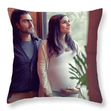 Happy Family At Home Throw Pillow