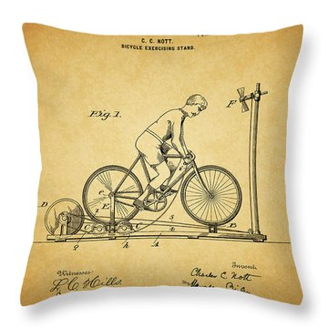 1900 Bicycle Exercise Stand Throw Pillow by Dan Sproul