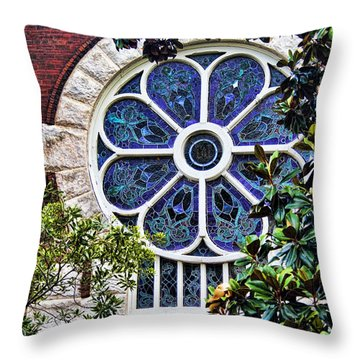 1901 Antique Uab Gothic Stained Glass Window Throw Pillow by Kathy Clark