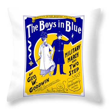 Throw Pillow featuring the painting 1901 The Boys In Blue, The Boston Police by Historic Image