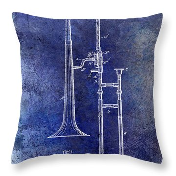 1902 Trombone Patent Blue Throw Pillow