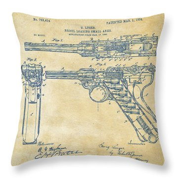 1904 Luger Recoil Loading Small Arms Patent - Vintage Throw Pillow