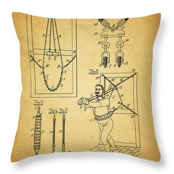 1905 Exercise Apparatus Patent Throw Pillow by Dan Sproul