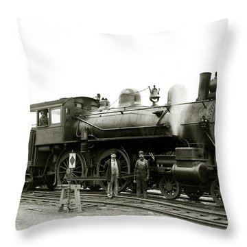 1905 Rail Engineers And Engine 1134 Throw Pillow by Historic Image
