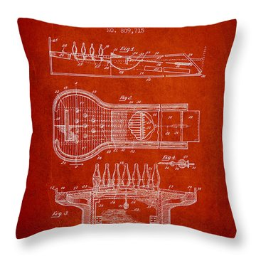 1906 Bowling Alley Patent - Red Throw Pillow