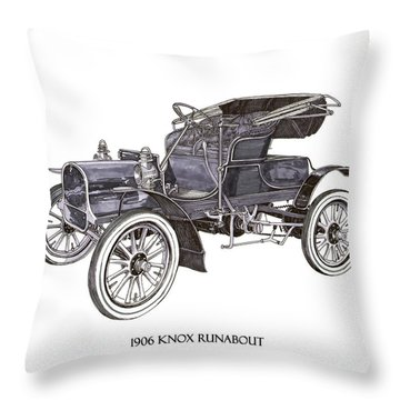 Throw Pillow featuring the drawing 1906 Knox Model F 3 Surry by Jack Pumphrey