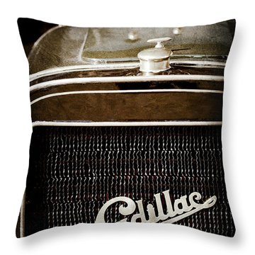 Throw Pillow featuring the photograph 1907 Cadillac Model M Touring Grille Emblem -1106ac by Jill Reger