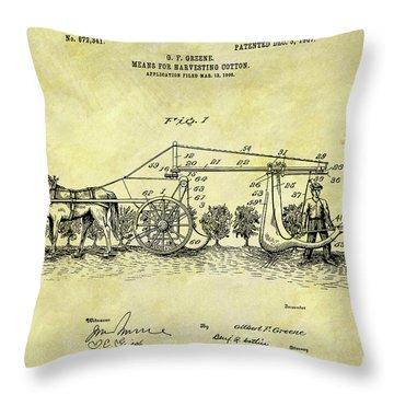 1907 Cotton Harvester Patent Throw Pillow