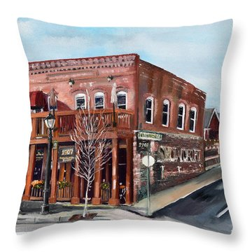 Throw Pillow featuring the painting 1907 Restaurant And Bar - Ellijay, Ga - Historical Building by Jan Dappen