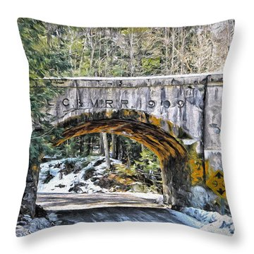 1909 Country Backroad Train Overpass Throw Pillow