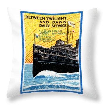 1910 Detroit To Buffalo Steamship Throw Pillow
