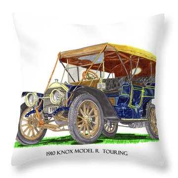 Throw Pillow featuring the painting 1910 Knox Model R 5 Passenger  Touring Automobile by Jack Pumphrey