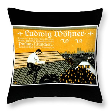Throw Pillow featuring the painting 1910 Munich Roof Repair Advertisement by Historic Image