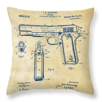1911 Colt 45 Browning Firearm Patent Artwork Vintage Throw Pillow by Nikki Marie Smith