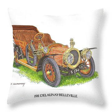 Throw Pillow featuring the painting 1911 Delaunay Belleville Open Tourer by Jack Pumphrey