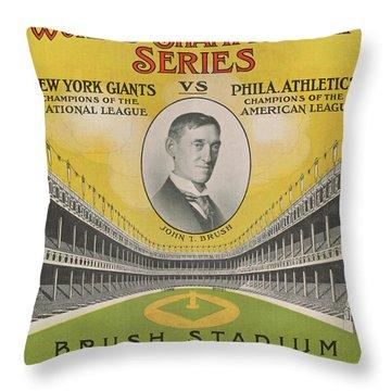 1911 World Series Score Card Throw Pillow
